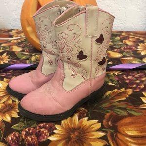 Roper pink & beige boot w/ light up butterflies